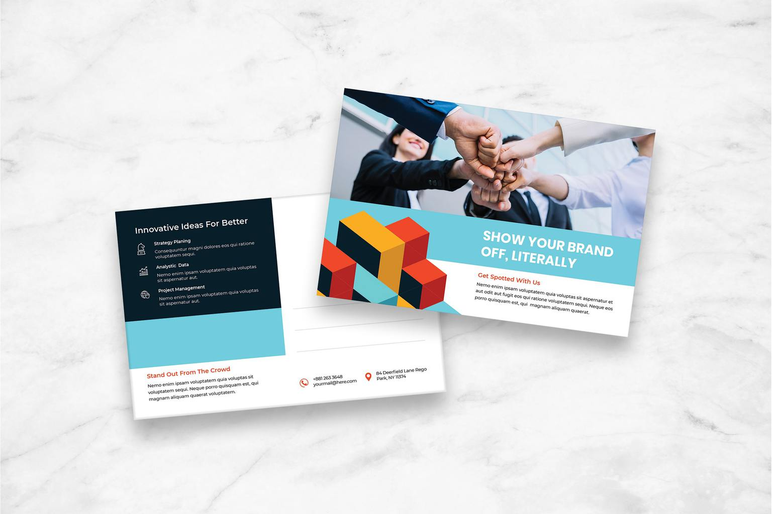 postcard brand project management