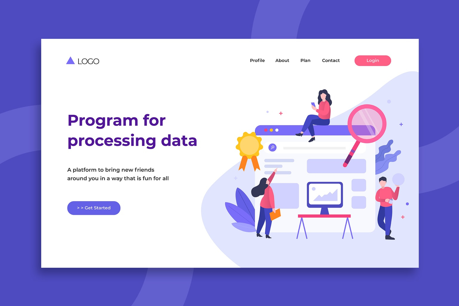 illustration landing pages processing data programs