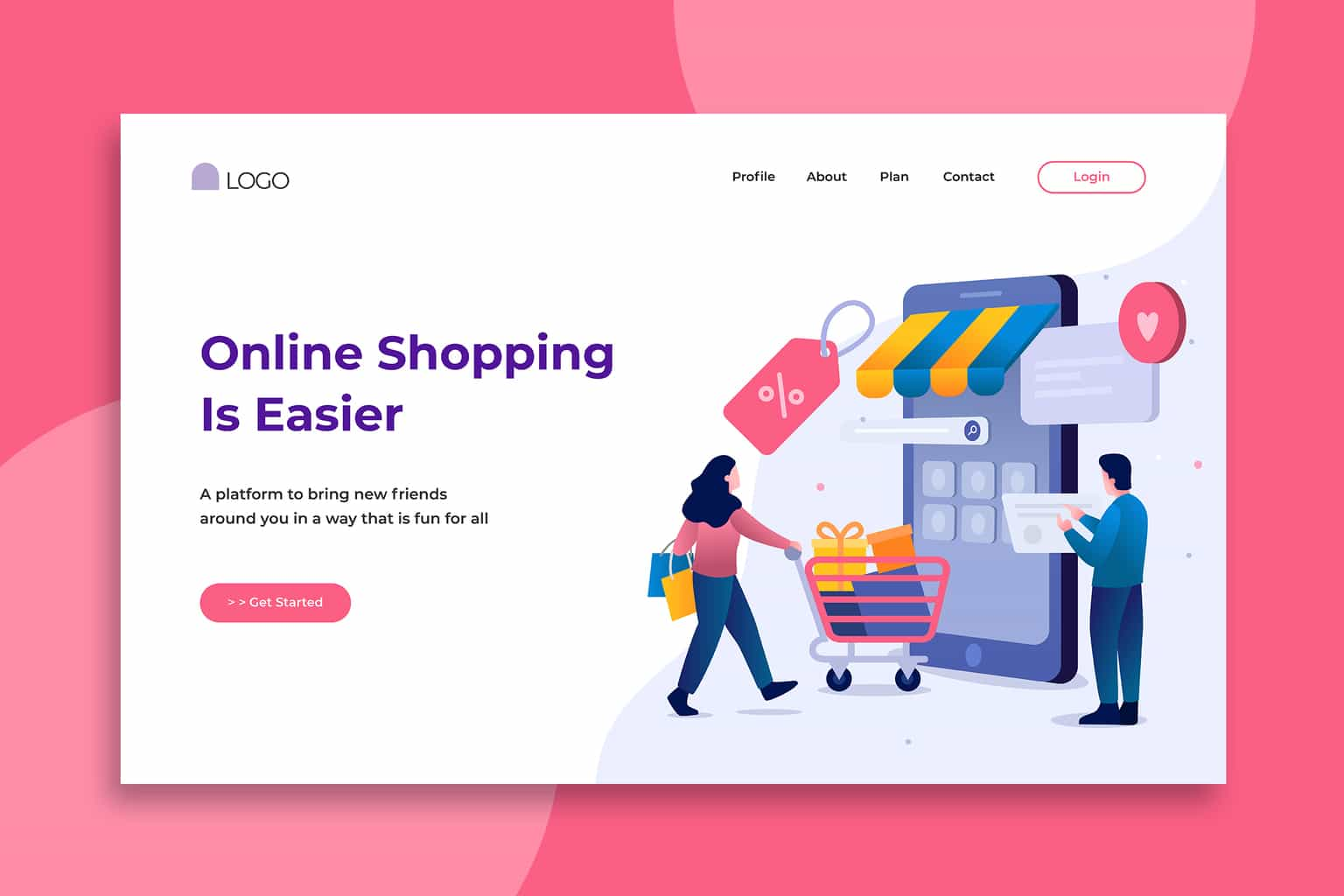 illustration landing pages online shopping store