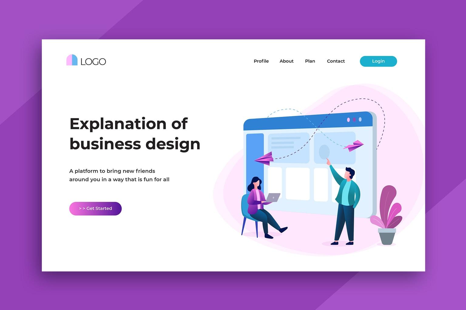 illustration landing pages professional business design