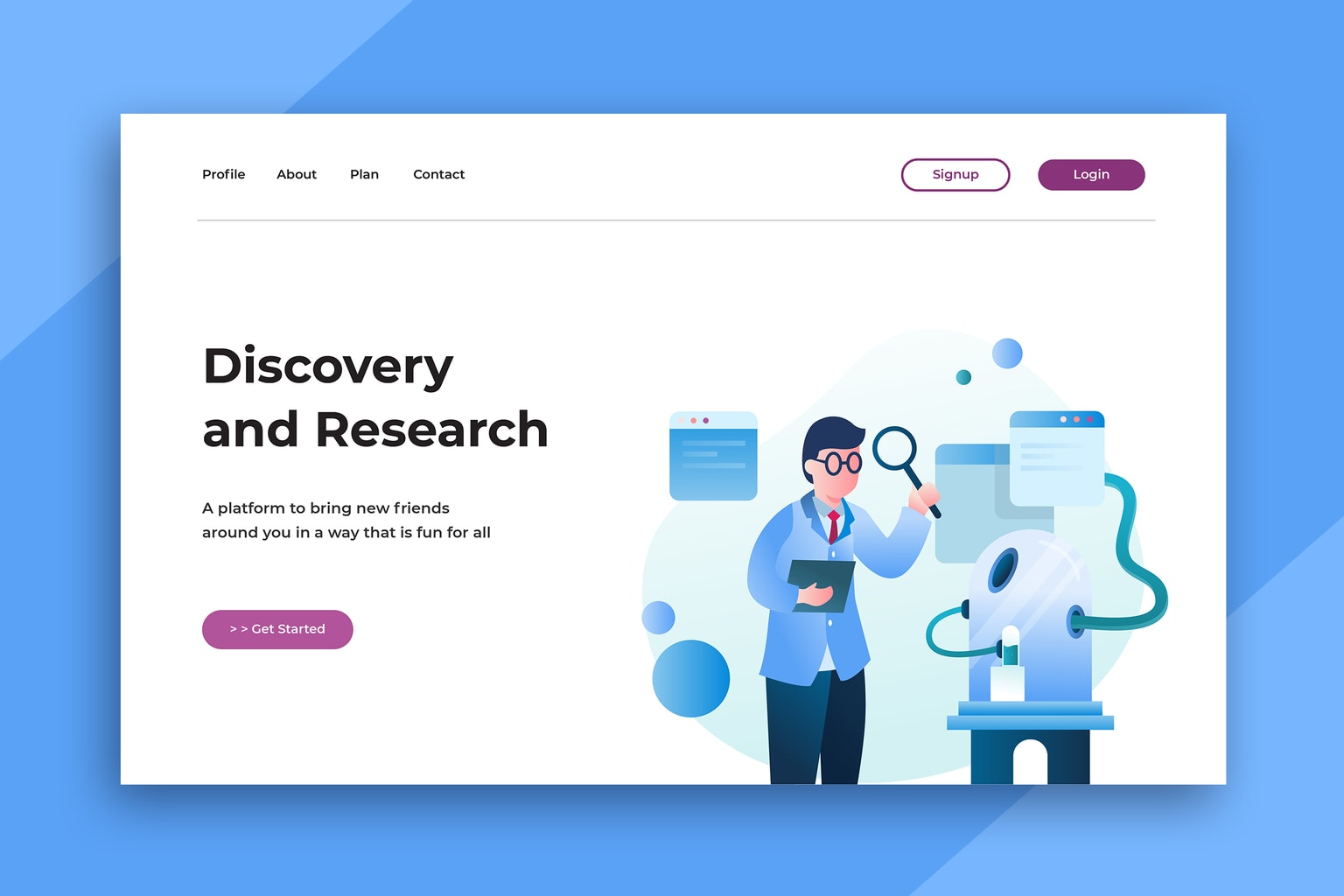 illustration landing pages discovery research center
