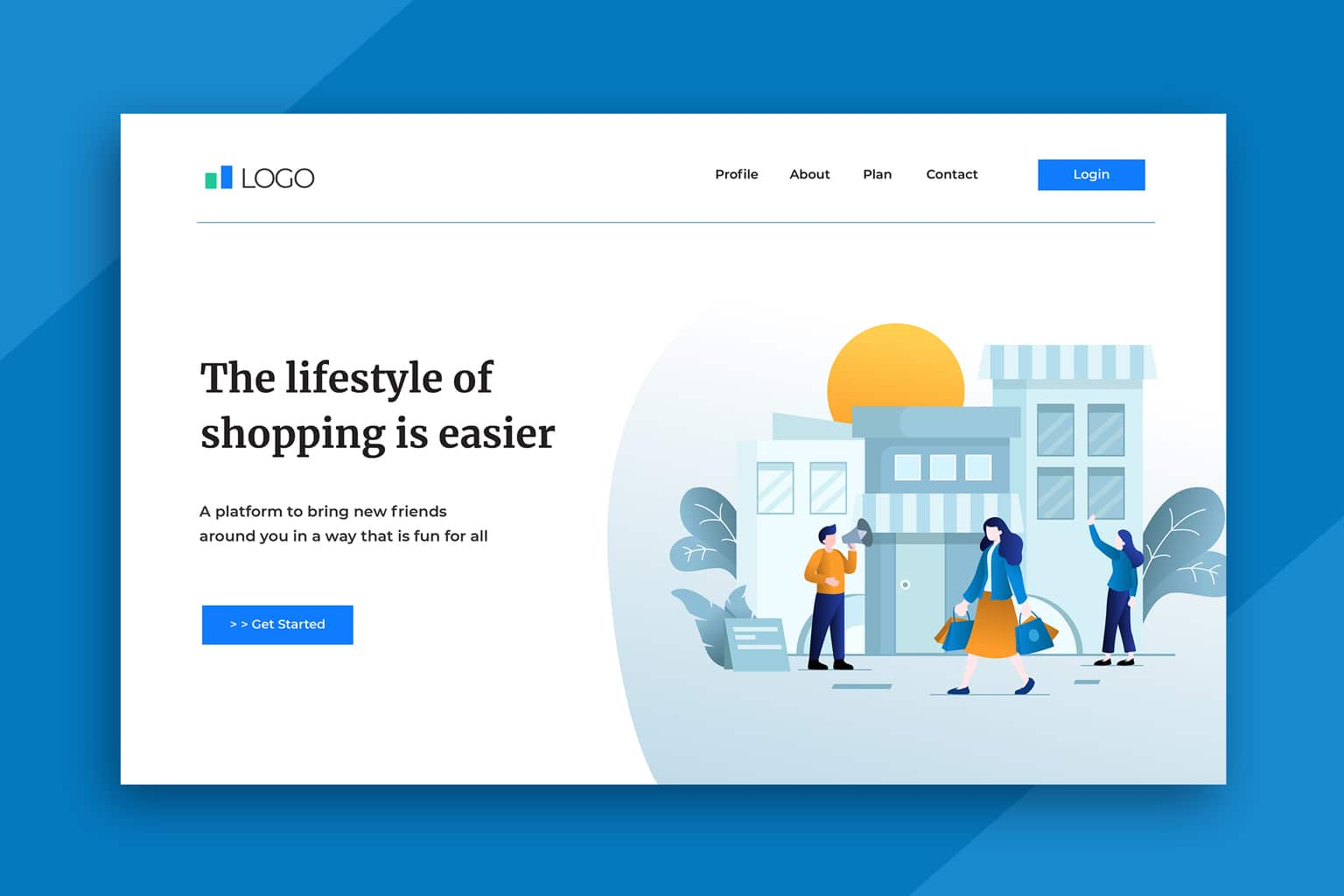 illustration landing pages shopping lifestyle
