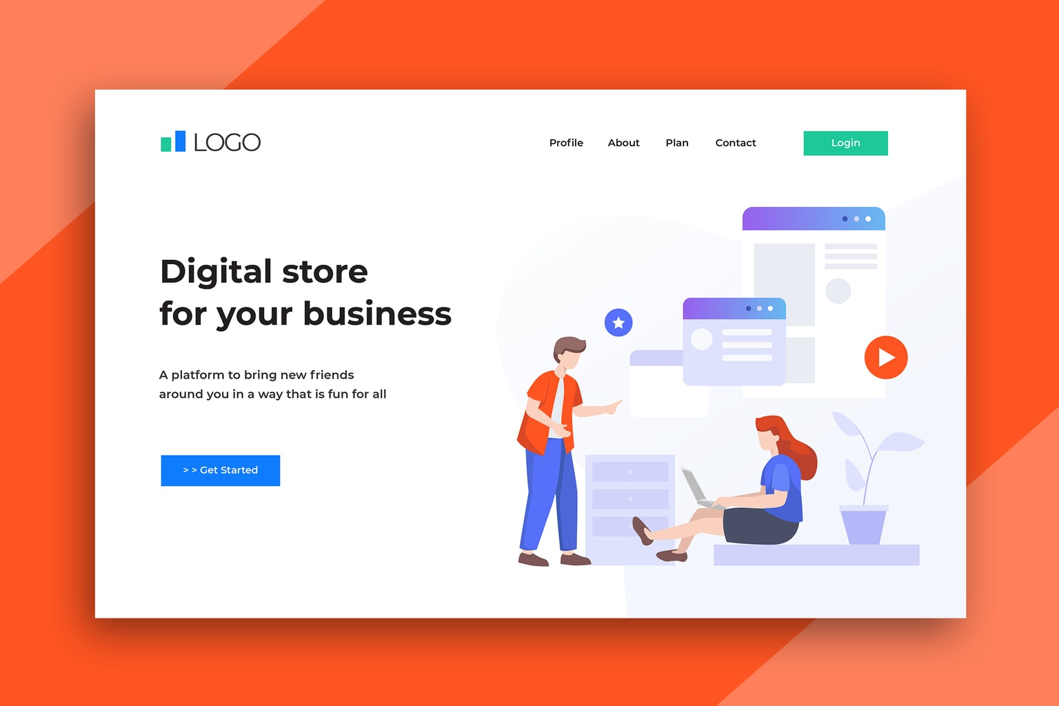 illustration landing pages digital store