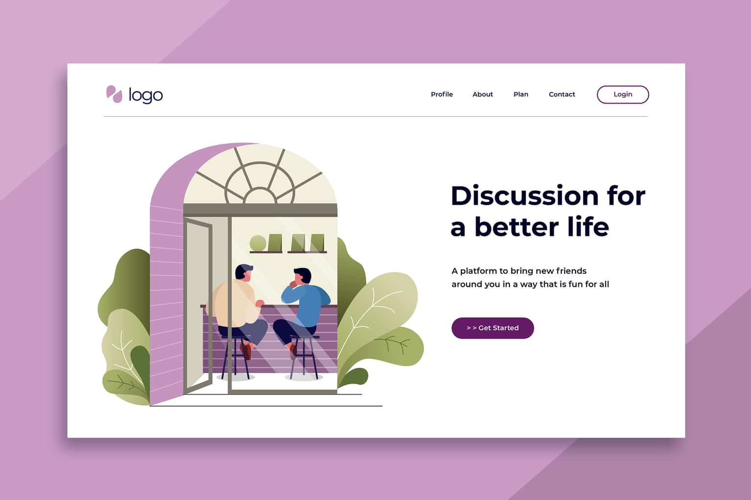 illustration landing pages discussion spaces