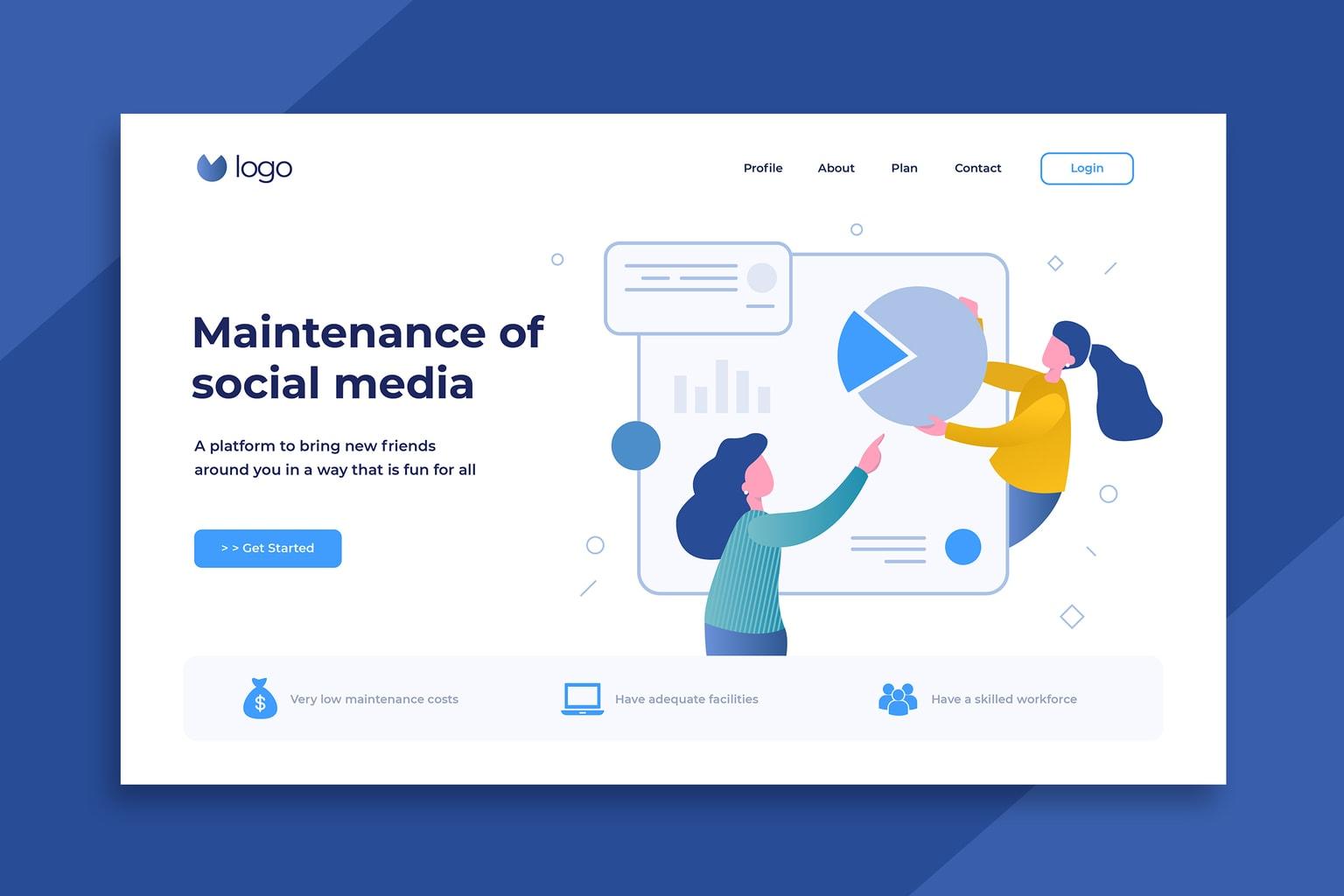 illustration landing pages social media maintenance