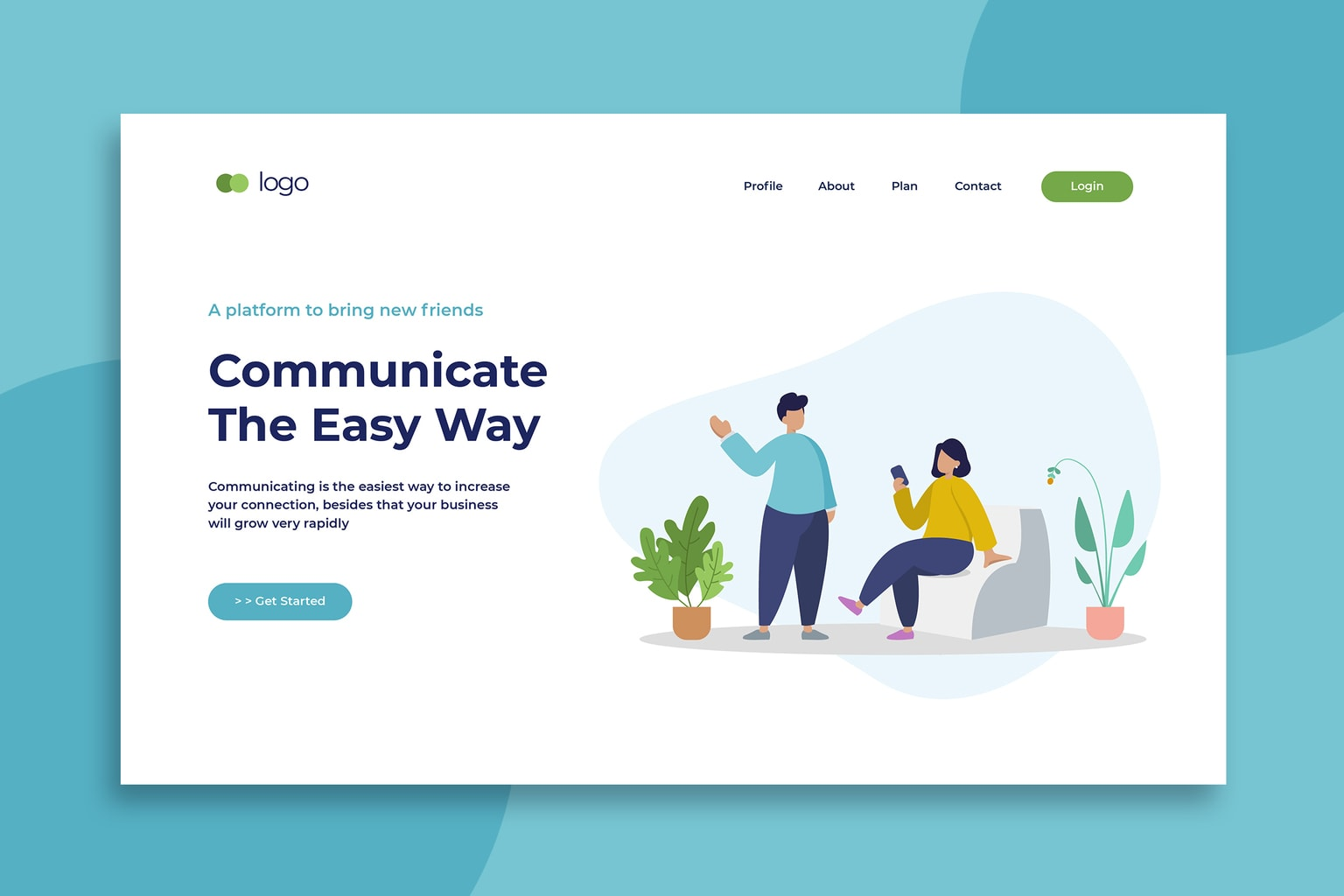 illustration landing pages social communicate platforms