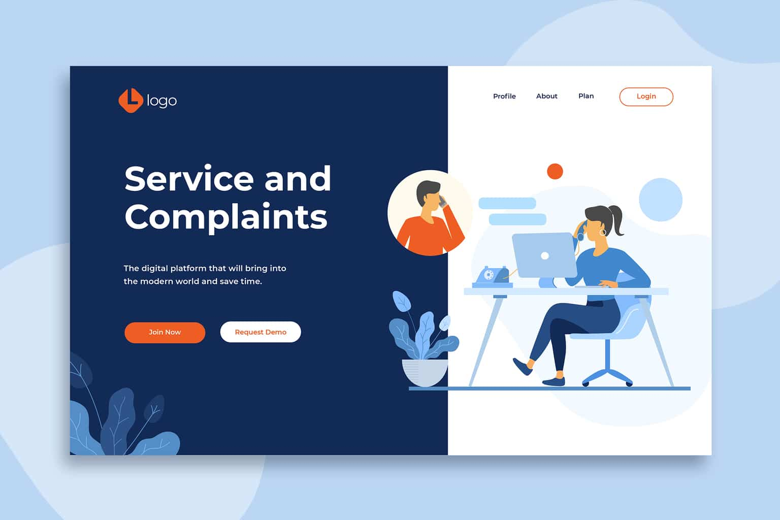 illustration landing pages service complaints