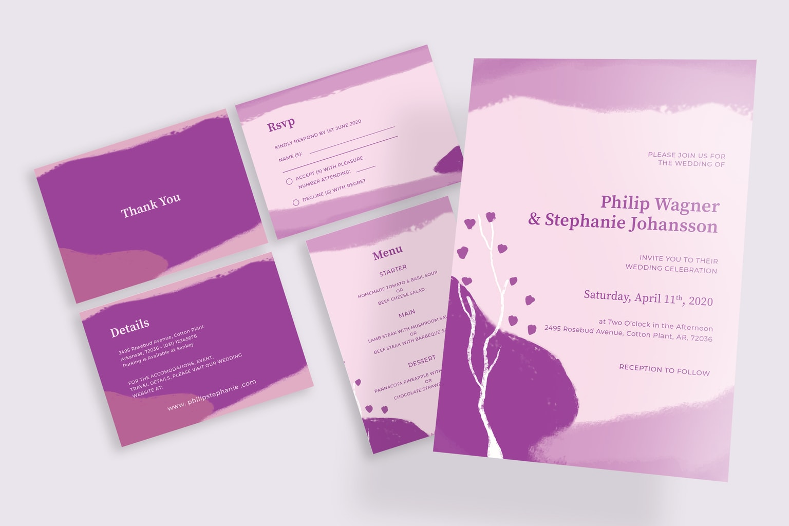 wedding invitation abstract purple paint 1