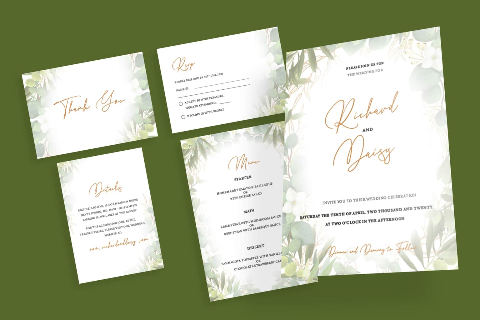 wedding invitation natural green flower frame