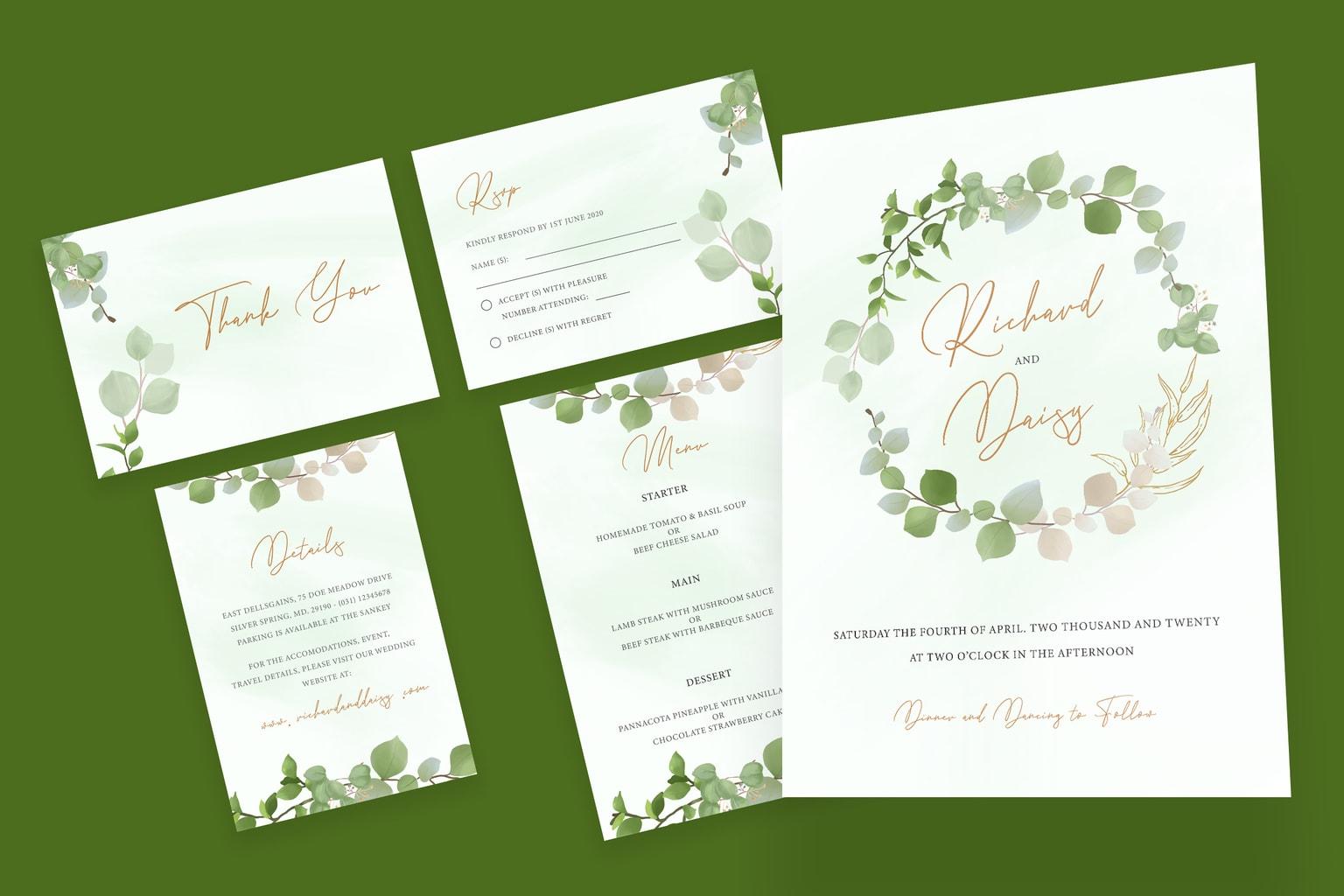 wedding invitation simple flower decoration