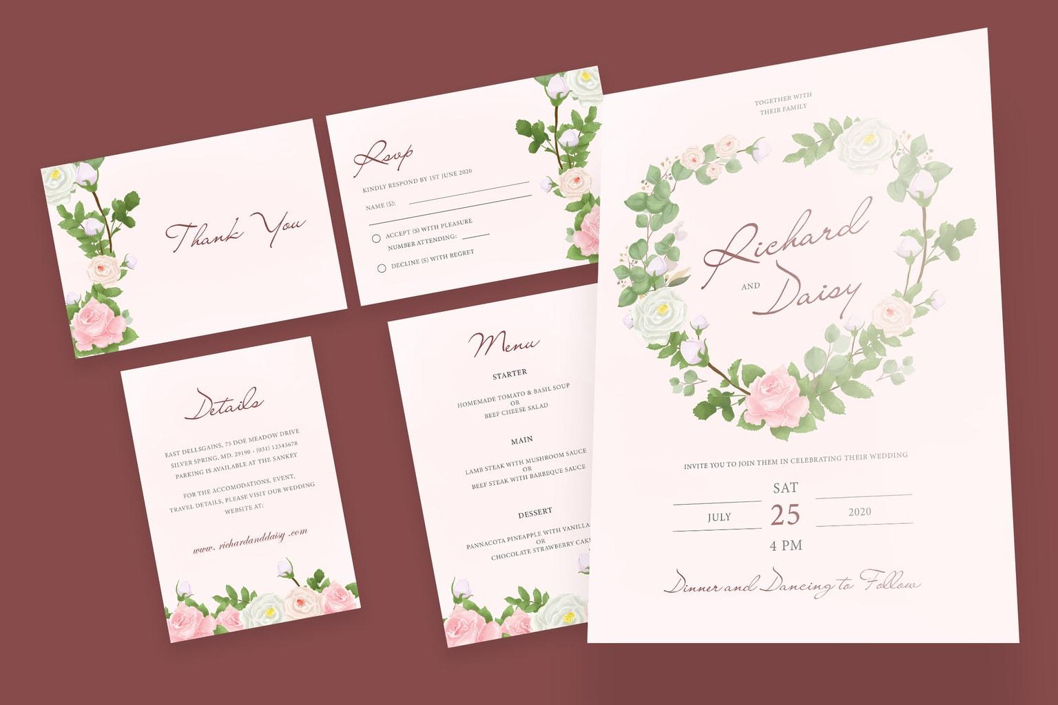 wedding invitation clean pink background