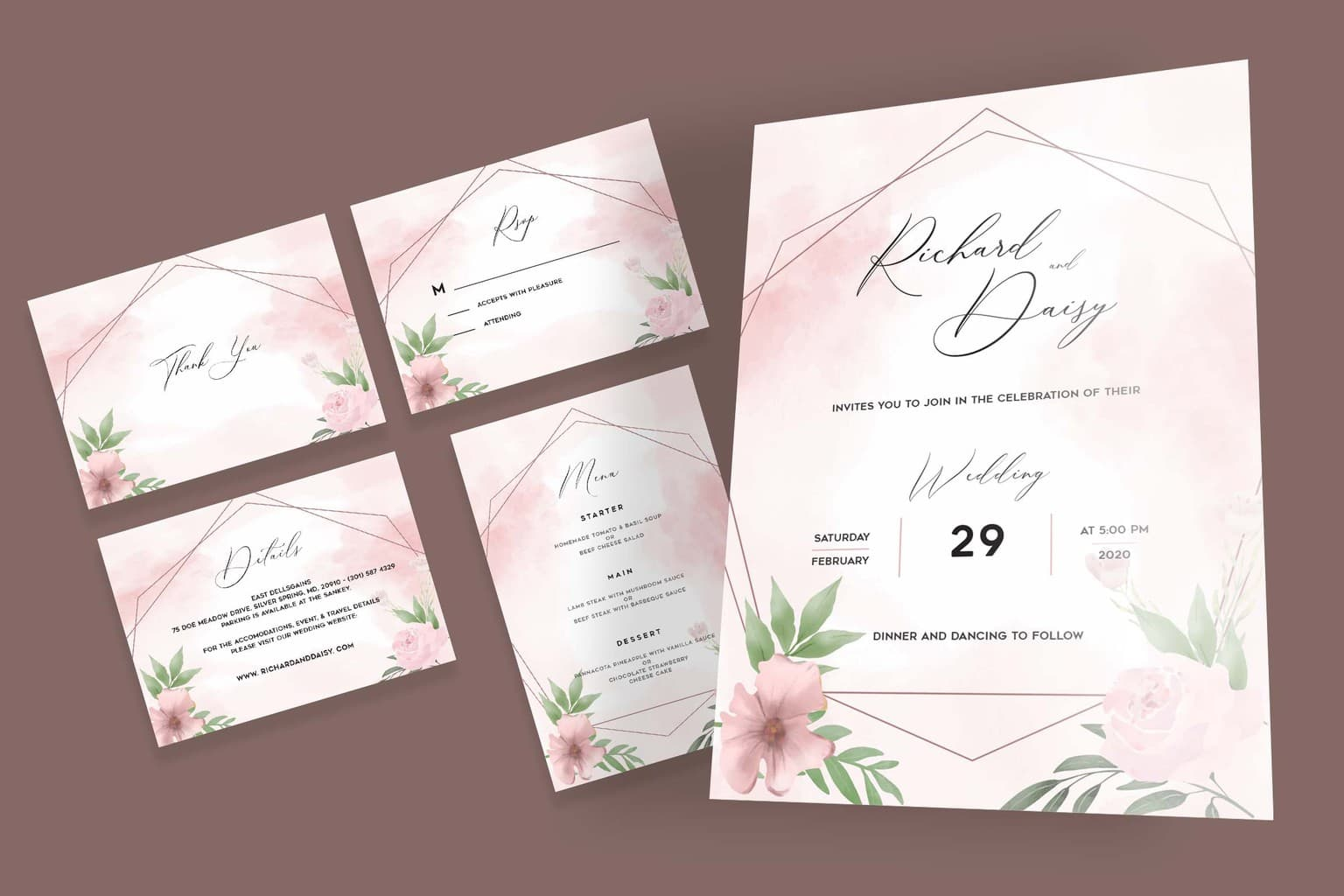 wedding invitation pink abstract watercolor 4
