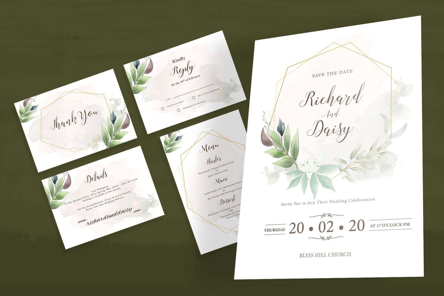wedding invitation simple transparent splash 3