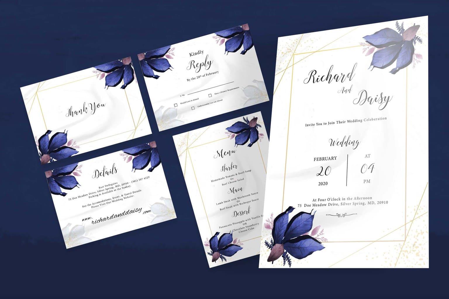 wedding invitation elegant blue flower