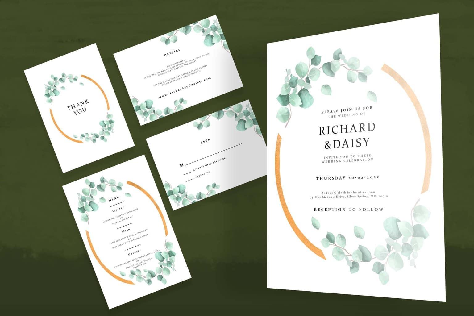 wedding invitation simple green flower frame