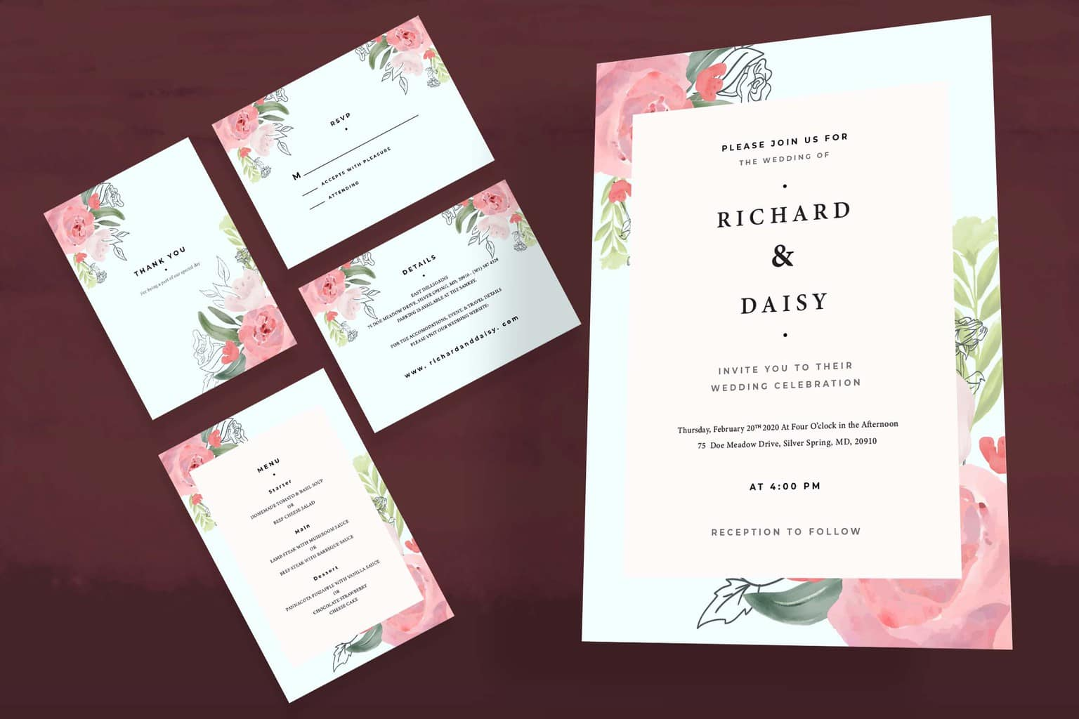 wedding invitation pink floral frame