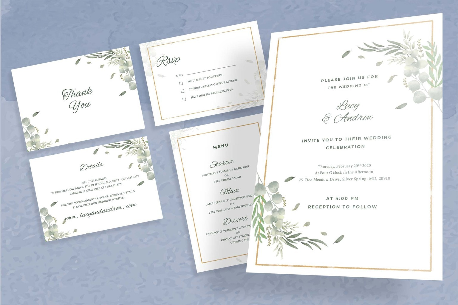 wedding invitation clean flowering design 6