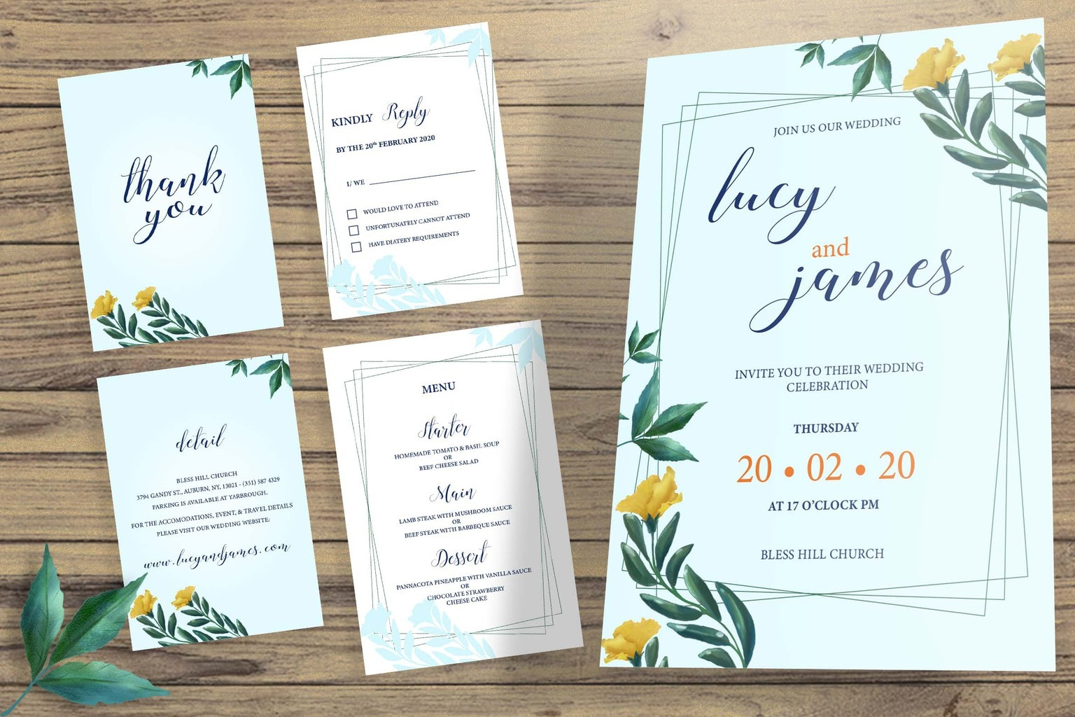 wedding invitation ordinary sky blue 1