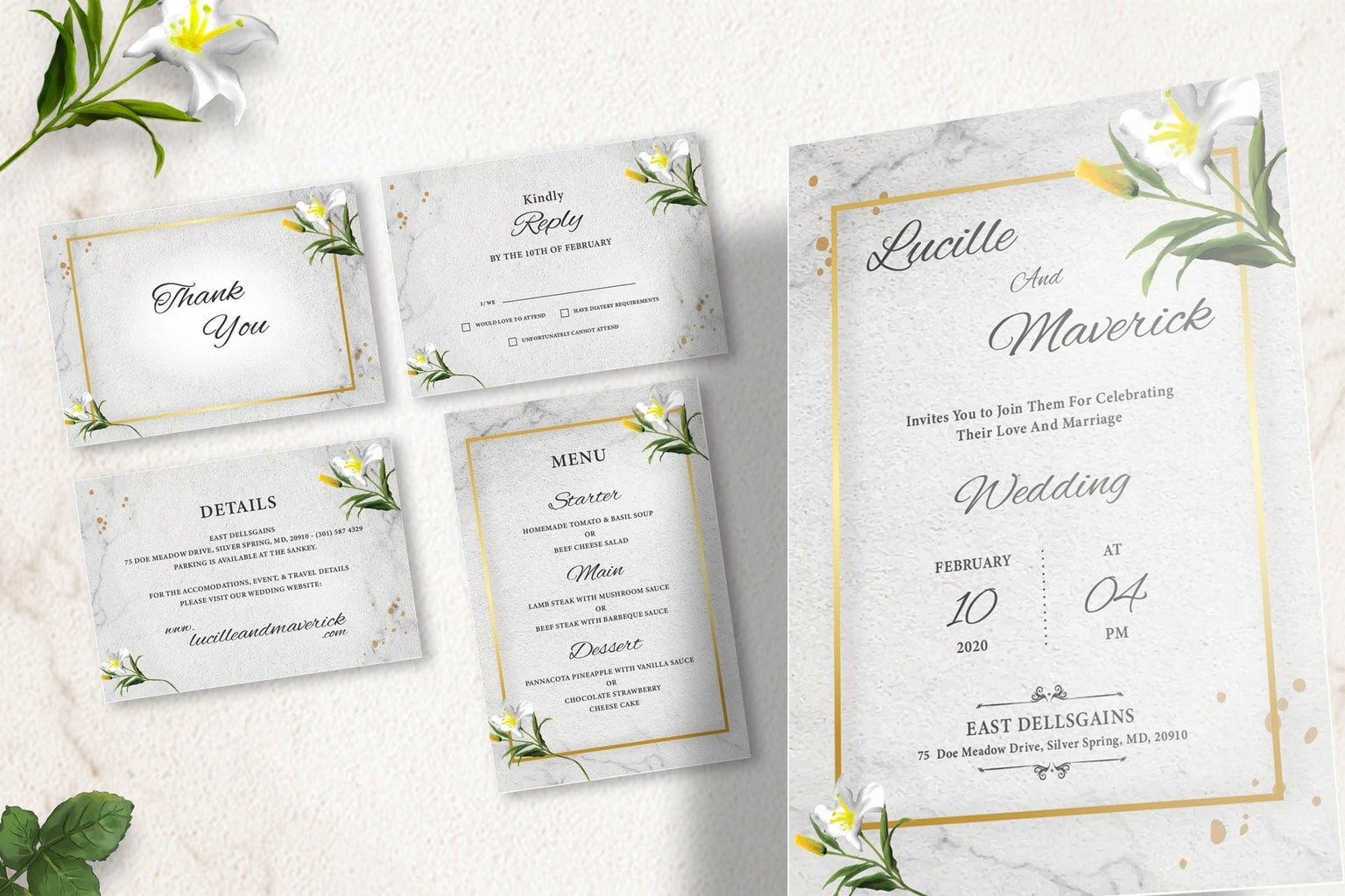wedding invitation simple florals 1