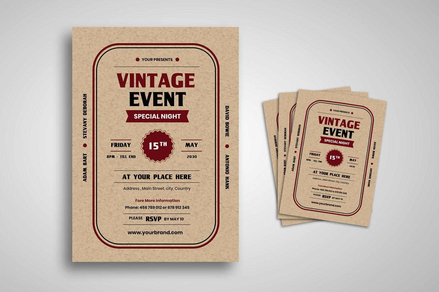 flyer special vintage event